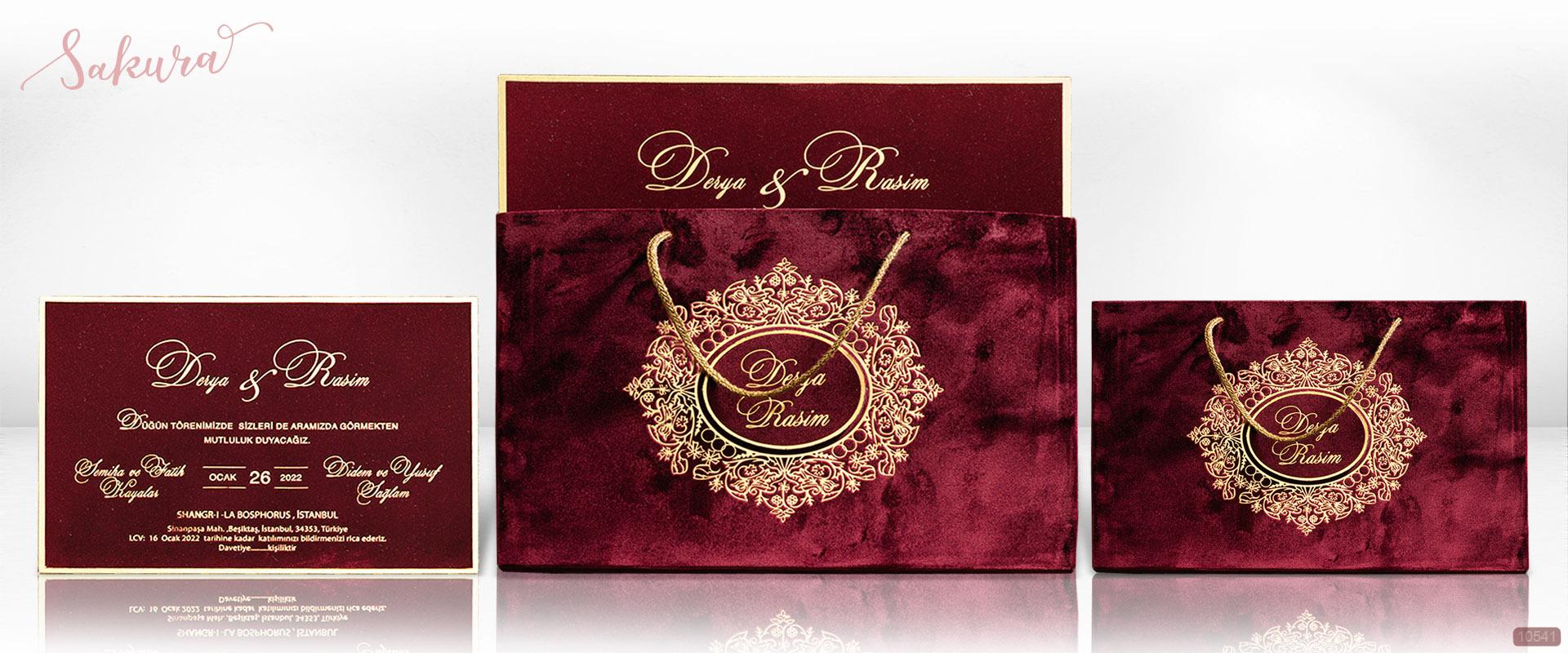 Свадебные приглашения бордовый бархат с золотой гранью. Конверт в виде пакета 3D.